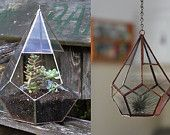 RESERVED for Katie - large teardrop terrarium and small teardrop terrarium, no kits -- stained glass -- copper color -- eco friendly