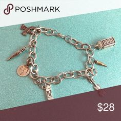 Charm Bracelet.. 6 34 inches long...sterling silver.. INV#20