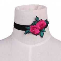 Rose Flower Leaf Embroidery Velvet Choker Necklace
