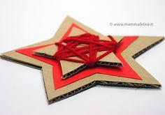 stella di cartone e lana http://www.mammafelice.it/2011/12/02/lavoretti-avvento-stella-di-cartone/