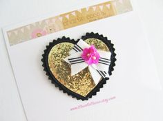 "Girls/Baby Valentine's Day Hair Clip-Black and Gold Glitter Heart Hair Clip, Felt Bow, Gold Glitter Heart Hair Clip ""Limited Edition"" Heart on Etsy, $14.95"