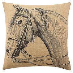 Lady Antebellum's Heartland® Delta Queen Square Throw Pillow in Brown: Bring timeless elegance to your bedroom with the beautiful Lady Antebellum's Heartland Delta Queen Square Throw Pillow. Inspired by the iconic riverboat, Delta Queen, the burlap pillow features a beautifully rendered horse drawing.