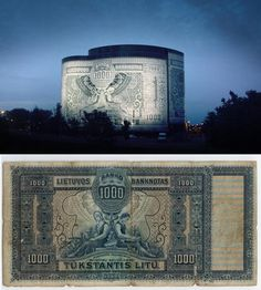 Office Center 1000, better known as the Banknote Building was designed in the form of a Lithuania 1,000 Litu 1924 banknote.The exterior consists of 4,500 different pieces of glass with enamel designs, which are being slotted together like a giant jigsaw puzzle.link