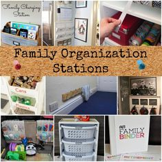 "Family Organization Stations Back to school means craziness in my house – this is why I like to ""try"" to get all of my ducks in a row now to prepare (the key word here being TRY).  You know what I am talking about…. the backpacks laying on the mudroom floor, the shoes thrown off …"