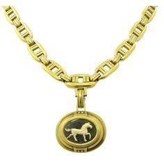 Kieselstein-Cord Horse Intaglio Necklace Pendant Brooch