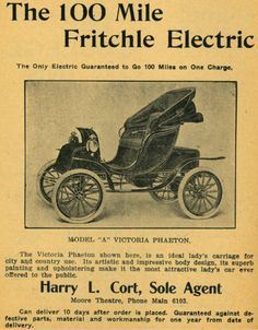 Fritchle Electric 1908. Oliver Parker Fritchle (September 15, 1874 – August 1951) was an American chemist, storage battery innovator, and entrepreneur with electric vehicle and wind power generation businesses.He was an early adaptor and developer of significant automotive technologies, such as regenerative braking and hybrid drivetrains, that did not reemerge on production vehicles of major car companies until late in the twentieth century.