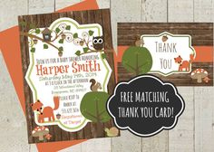 Woodland Theme Shower Invite, Baby Shower Invitation, FREE matching Thank you card. Custom Baby Shower Inviteby themilkandcreamco, $10.00