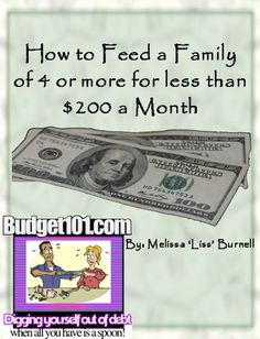 How to Feed a Family of 4 or More for Less than $200 a Month ($1.21) http://www.amazon.com/exec/obidos/ASIN/B00710A0V6/hpb2-20/ASIN/B00710A0V6 This book has some great ideas for saving money on groceries. - This was a very good, quick and easy read. - We do not have cheap butchers or farmers who sell in bulk.