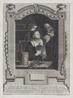 Elisabeth Marie Simons | De piskijker, Elisabeth Marie Simons, 1760 - 1834 | Een geneesheer bestudeert urine in een urinaal die hij boven zijn hoofd houdt. Op de tafel voor hem staan de bij de urinaal horende mand en een buikfles. Ernaast ligt een lepel. Op de achtergrond een boekenkast. Onder aan de prent een gedicht op de geneeskunde in het Nederlands en het Frans.