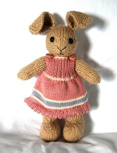 Hand-Knit Stuffed Toy Girl Bunny. $50.00, via Etsy.