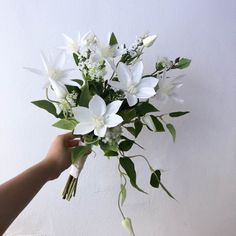 White Wedding Flowers, Flower Bouquet Wedding, Hanging Flower Wall, Korean Wedding, Wedding Goals, Picture Collection, Clematis, Here Comes The Bride, Vintage Art