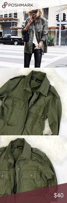 Military Green Jacket Brand 4sienna from Nasty Gal. Unworn. New without tag. Direct from distributor. Still has new stiff feel. Tag size is small with a loose fit. Sizing is more like a one size fits most from small to large with a more loose fit for a smaller frame.   Lightweight military jacket featuring a classic collar, a button up closure, front functional pockets, long wide sleeves- can be rolled up for easy layering. 100% cotton.   Model inspiration photos are not mine. Credit to…