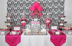 34 Best Wedding Table Display Ideas That Make Beauty Your Party - weddingtopia Candy Buffet Tables, Candy Table, Dessert Tables, Party Tables, Dessert Buffet, Pink Parties, Birthday Parties, 80th Birthday, Bling Bridal Showers