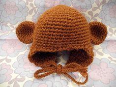 Avi & Sirenerne: Hæklet bjørne/abe/ewok-hue til baby