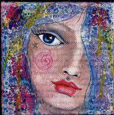 Original Peeking Mixed Media Girl Face on 4x4 by illuminationsart, $25.00  SOLD