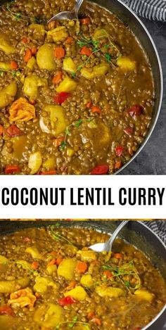 Creamy Jamaican coconut lentil curry, made with green lentils cooked in an aromatic coconut curry sauce. This makes the perfect one pot dish. Best Gluten Free Recipes, Top Recipes, Asian Recipes, Cooking Recipes, Healthy Recipes, Jamaican Recipes, Amazing Recipes, Vegetarian Recipes, Recipies