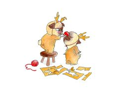 Reindeer Pugs - Christmas Holiday Pug Art from INKPUG - Card or Print