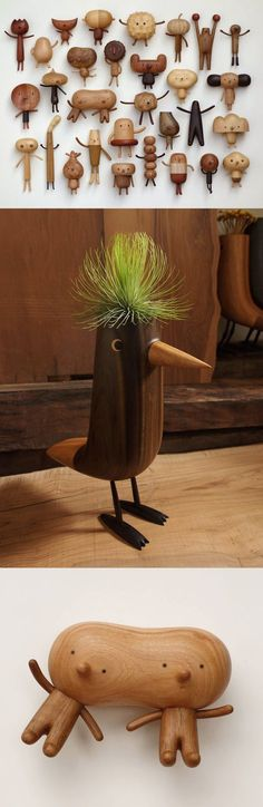 Quirky Cartoon Toys and Vases Carved from Wood by Yen Jui-Lin Small Wood Projects, Diy Craft Projects, Woodworking Inspiration, Cartoon Toys, Wooden Animals, Wood Toys, Dremel, Hobbies And Crafts, Cool Artwork