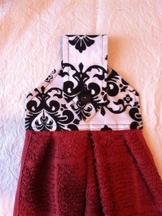 Black Damask and Red Towels  Kitchen or Bath  2 by thatssewchacha, $8.00