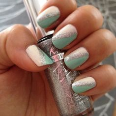 Hehe tiffany blue with white & glitter! #nails #nailpolish