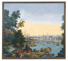 """Lot 1 Rare Wallpaper Panel from the Panoramic """"Views of America"""":  The Boston Tea Party in Boston Harbor, Zuber Manufacture, Rixheim, France, Late 19 th century - Sotheby's"""