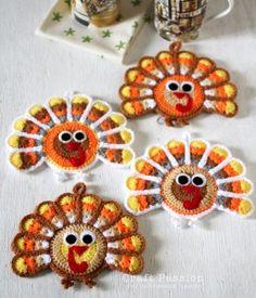 Crochet Turkey Hot pad Thanksgiving