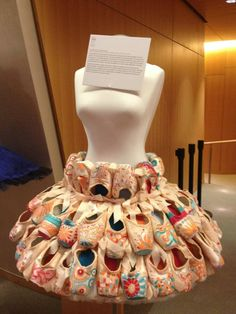 A tutu made of pointe shoes from the collection on display at the National Ballet of Canada Diamond Gala