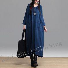 Dark blue linen dress long sleeve dress National gown dress cotton dress linen long maxi dress casual loose dress plus size dress  E91