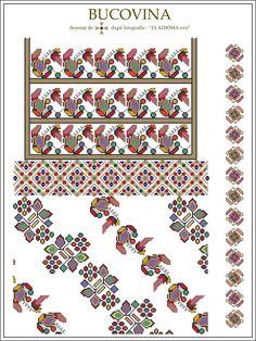 IA AIDOMA 010 - Bucovina, ROMANIA Cross Stitch Borders, Cross Stitch Flowers, Cross Stitch Patterns, Folk Embroidery, Embroidery Patterns, Knitting Patterns, Embroidery Techniques, Beading Patterns, Pixel Art