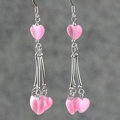 Heart long linear dangling pink earrrings by AnniDesignsllc