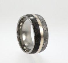 Meteorite Wedding Band / Titanium Ring inlaid with Meteorite Dinosaur Bone and 14K Yellow Gold. $1,167.00, via Etsy.