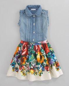 Dolce & Gabbana Denim Sleeveless Blouse & Fiori Colonna Floral Poplin Skirt - Neiman Marcus