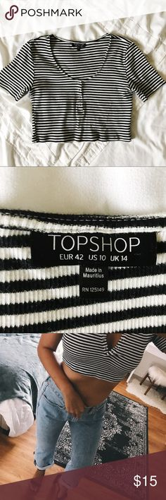 Topshop Striped Crop Henley striped crop top with snap buttons. Like new, never worn. Size 10 - medium/large. Jeans in photo are also for sale; please look for listing. Topshop Tops Crop Tops