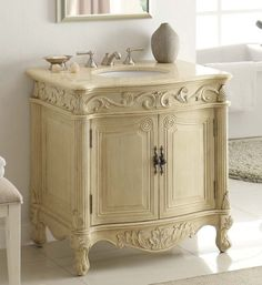 "32"" Traditional Style Fiesta Bathroom sink vanity cabinet CF-2873M-LT Chans Furniture http://www.amazon.com/dp/B000MXNHT6/ref=cm_sw_r_pi_dp_cBcWvb0KWPWQ4"