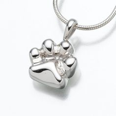 Paw Pendant Cremation Jewelry in Sterling Silver