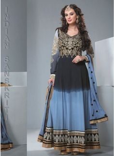 Beautiful navy blue & lite blue ombrey georgette #anarkali with gold embroidery