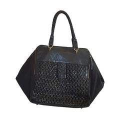 Liebeskind Berlin Woven Vegetable Kayla Tote Leather Canvas Black