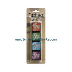 El kit 2 de las Mini Distress Ink Pad contiene las siguientes tintas y almohadillas: Fired Brick, Mowed Lawn, Salty Ocean y Seedless Preserves Tintas disponibles en nuestra tienda online www.lafiestadelarte.com