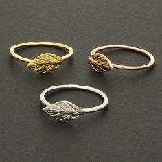 Delicate Leaf Ring in Rose Gold / R048RG by silverholic on Etsy