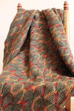 Color Inspiration :: Autumn Colors Afghan - Nice use of variegated yarn #crochet #blanket #throw