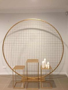 Best 11 Gold grid circle for hire from Allure Events. Can attach logo and flowers Balloon Centerpieces, Centerpiece Decorations, Balloon Decorations, Wedding Arch Flowers, Diy Wedding Backdrop, Diy Bow Earrings, Rental Decorating, Backdrops For Parties, Ceiling Design