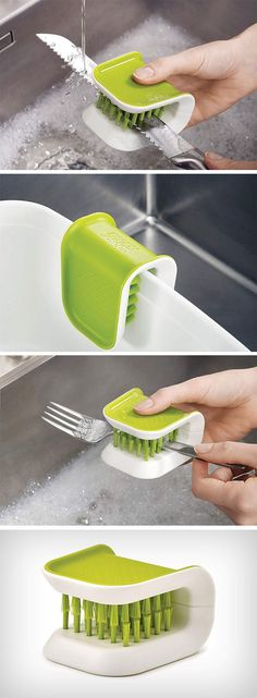 The challenge with washing a knife is cleaning the blade without cutting anythin. The challenge wi Kitchen Items, Kitchen Utensils, Kitchen Hacks, Kitchen Tools, Kitchen Gadgets, Home Gadgets, Gadgets And Gizmos, Cocina Office, Do It Yourself Design