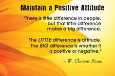 Always keep positive! Move forwards, not backwards.