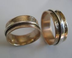 Mens and Womens Hammered 14k Gold Bands