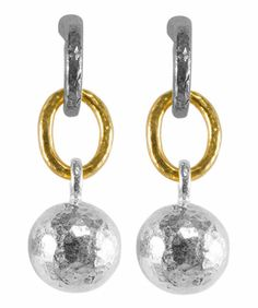 Gurhan Blackened/white sterling silver and 24K yellow gold drop earrings with 13 mm ball.