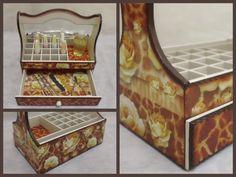 Nail Polish Organizer Wooden Storage Box with by CLVLArtsBrazil, $49.00