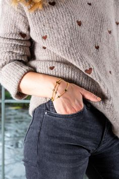 Finish off your A/W look with some delicate gold jewellery. Bracelets are by Irish designer MoMuse, sold at Avoca stores and online. Jewellery Bracelets, Gold Jewellery, Irish Jewelry, Earring Crafts, Sterling Silver Necklaces, Delicate, Men Sweater, Jewelry Design, Women Jewelry
