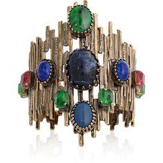 Emilio Pucci Multi-stone cuff ($460) ❤ liked on Polyvore featuring jewelry, bracelets, accessories, gioielli, pulseras, pink bangles, cuff bangle, emilio pucci, blue bangles and cuff jewelry