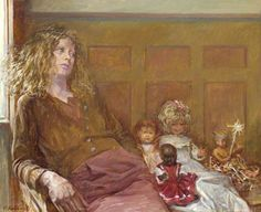 """""""Christine and Dolls"""", 1977, by Thomas Roland Rathmell (Welsh, 1912-1990)."""