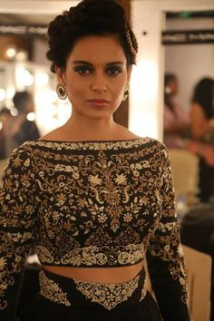 Beautiful blouse details by Anju Modi at India Couture Week India Fashion, Ethnic Fashion, Asian Fashion, Ethnic Chic, Indian Attire, Indian Wear, Indian Outfits, Bride Indian, Red Lehenga